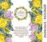 vintage delicate invitation...   Shutterstock . vector #463128209