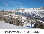 winter in the swiss alps ... | Shutterstock . vector #463130339