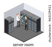 isometric interior of server... | Shutterstock .eps vector #463139411