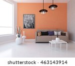 orange room with sofa. living... | Shutterstock . vector #463143914