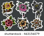 traditional tattoo roses set... | Shutterstock .eps vector #463156079