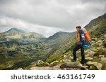 woman backpacker hiker on a top ... | Shutterstock . vector #463161749
