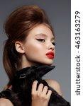 young teen girl with rabbit.... | Shutterstock . vector #463163279