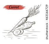 vector sketch of carrots... | Shutterstock .eps vector #463166729