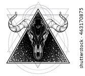 blackwork tattoo flash. bull... | Shutterstock .eps vector #463170875