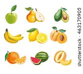 colorful fruit icons set apple  ... | Shutterstock .eps vector #463170905