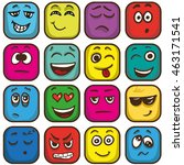set of colorful emoticons ... | Shutterstock .eps vector #463171541