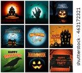 multiple halloween background... | Shutterstock .eps vector #463172321