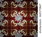 vintage pattern on red... | Shutterstock .eps vector #463175867