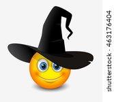 cute emoticon wearing witch hat ...