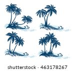 set tropical landscapes  palm... | Shutterstock .eps vector #463178267