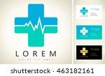 pharmacy cross and heartbeat... | Shutterstock .eps vector #463182161
