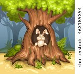 rabbit in the hollow of the tree | Shutterstock .eps vector #463189394