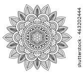 ethnic boho doodle floral... | Shutterstock .eps vector #463202444