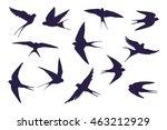 swallow bird silhouette set | Shutterstock .eps vector #463212929