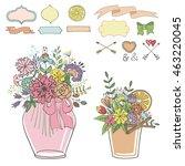 mason jars with flowers bouquet ... | Shutterstock . vector #463220045