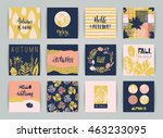 set of artistic creative autumn ... | Shutterstock .eps vector #463233095