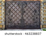 iron gate with forged products... | Shutterstock . vector #463238837
