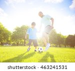 little boy playing soccer with... | Shutterstock . vector #463241531