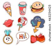 set cartoon patch badges or... | Shutterstock .eps vector #463254425