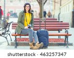 beautiful young girl is sitting ... | Shutterstock . vector #463257347