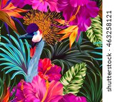 vector floral composition with... | Shutterstock .eps vector #463258121