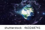 planet earth global hologram  ... | Shutterstock . vector #463268741