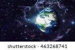 planet earth global hologram  ... | Shutterstock . vector #463268741