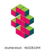 isometric pixel number 8. 3d... | Shutterstock .eps vector #463281344