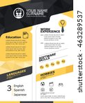 vector resume template. cv ... | Shutterstock .eps vector #463289537