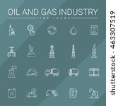 oil and gas industry line icons | Shutterstock .eps vector #463307519