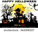 halloween night background with ... | Shutterstock .eps vector #463308107