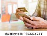 online payment man's hands... | Shutterstock . vector #463316261