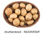 raw potatoes in basket on white ...   Shutterstock . vector #463344569
