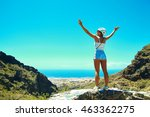 happy stylish girl woman in... | Shutterstock . vector #463362275