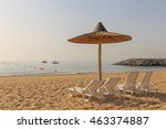 sunshade shelter and seats on... | Shutterstock . vector #463374887