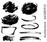 set of black hand drawn brush... | Shutterstock .eps vector #463385915
