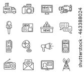mass media linear icons. thin... | Shutterstock .eps vector #463388024