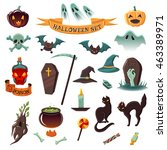 set of halloween icons.... | Shutterstock . vector #463389971