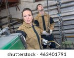 female welder and coleague at... | Shutterstock . vector #463401791