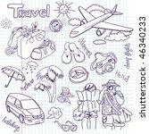 hand drawn travel doodles....   Shutterstock .eps vector #46340233