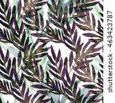 tropical leaves seamless... | Shutterstock . vector #463423787