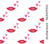 seamless vector lips and hearts ... | Shutterstock .eps vector #463429541
