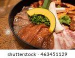 selective focus point on pork... | Shutterstock . vector #463451129