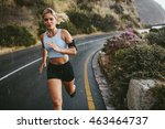 female athlete running outdoors ... | Shutterstock . vector #463464737