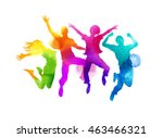 a group of friends jumping... | Shutterstock .eps vector #463466321
