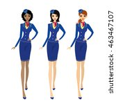 air hostess in uniform and... | Shutterstock .eps vector #463467107