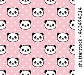 seamless cute cartoon panda... | Shutterstock .eps vector #463494314