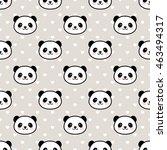 seamless cute cartoon panda... | Shutterstock .eps vector #463494317