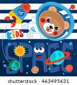 cute astronaut teddy bear in... | Shutterstock .eps vector #463495631
